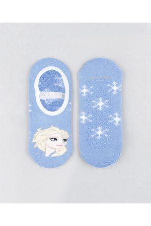 Disney Meia Infantil Sapatilha Elsa Frozen Estampada com Lurex e Sola Antiderrapante Azul Claro