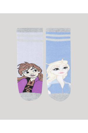 Disney Kit de 2 Meias Infantis Cano Médio Elsa e Anna Frozen Multicor