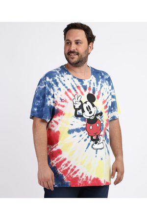 Disney Homem Manga Curta - Camiseta Masculina Plus Size Mickey Estampada Tie Dye Manga Curta Gola Careca Azul