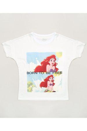 Disney Blusa Juvenil A Pequena Sereia Manga Curta Off White