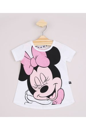 Disney Blusa Infantil Ampla Minnie com Glitter Manga Curta Off White
