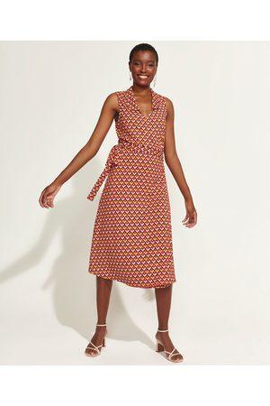 DVF Vestido Feminino Midi Envelope Geométrico Sem Manga Multicor