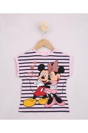 Disney Blusa Infantil Listrada Mickey e Minnie com Brilho Manga Curta Claro