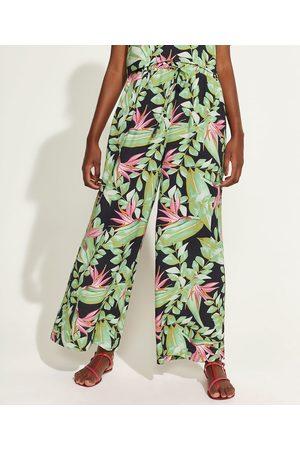 DVF Calça Feminina Pantalona Cintura Alta Estampada de Folhagem Preta