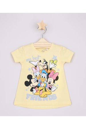 "Disney Blusa Infantil Ampla Turma do Mickey My Best Friends"" Manga Curta Amarela"""