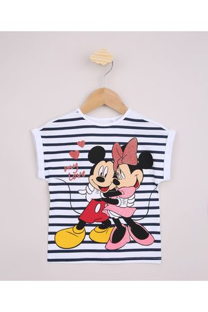 Disney Blusa Infantil Listrada Mickey e Minnie com Brilho Manga Curta Off White