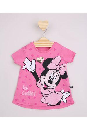 Disney Blusa Infantil Ampla Minnie com Paetê e Brilho Manga Curta Pink