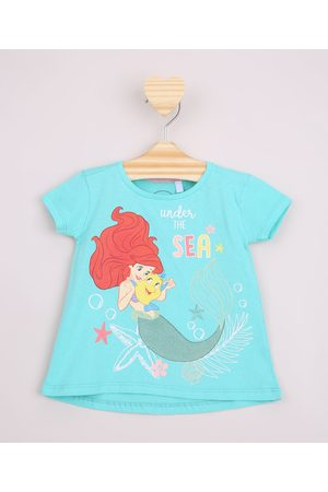 Disney Menina Manga Curta - Blusa Infantil Ampla Pequen Sereia Ariel com Glitter Manga Curta Água