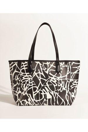 DVF Bolsa Feminina Shopper Grande Estampada Assinatura com Carteira Preta