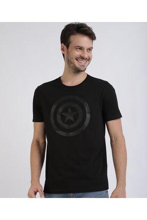 Marvel Camiseta Masculina Tal Pai Tal Filho Capitão América Manga Curta Gola Careca Preta