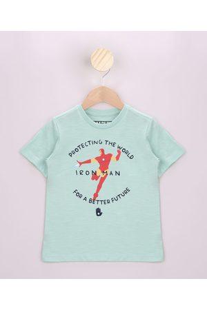 Marvel Homem Manga Curta - Camiseta Infantil Homem de Ferro Manga Curta Claro