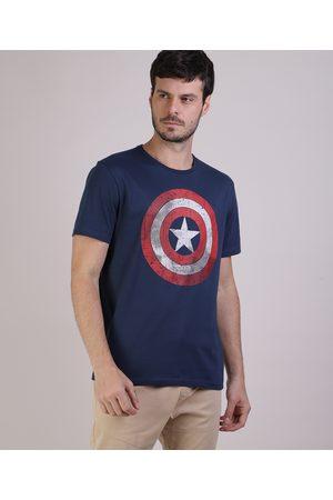 Marvel Camiseta Masculina Capitão América Manga Curta Gola Careca