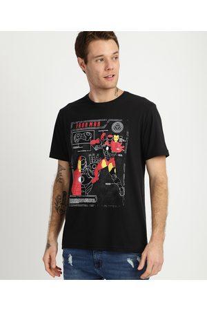 Marvel Camiseta Masculina Iron Man Manga Curta Gola Careca Preta