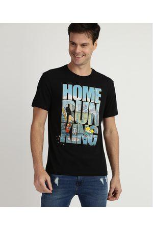 "Nickelodeon Homem Manga Curta - Camiseta Masculina Hey Arnold Home Run King"" Manga Curta Gola Careca Preta"""