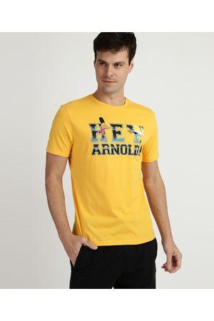 Nickelodeon Camiseta Masculina Hey Arnold Manga Curta Gola Careca Amarela