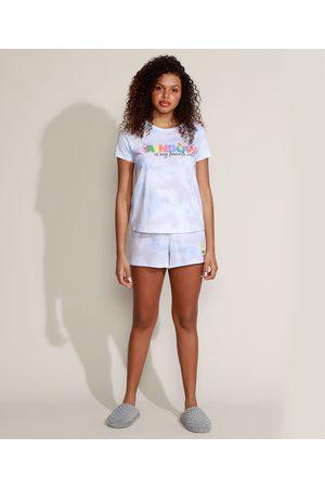 """Nickelodeon Pijama Feminino Bob Esponja Rainbow"""" Tie Dye Manga Curta Lilás"""""""