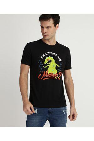 Nickelodeon Camiseta Masculina Dinossauro Rugrats os Anjinhos Manga Curta Gola Careca Preta
