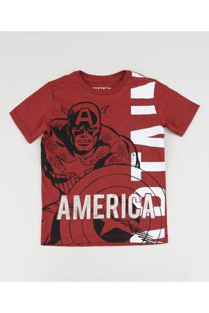 Marvel Camiseta Infantil Capitão América Manga Curta Vermelha