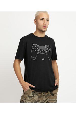 Playstation 3 Camiseta Masculina Controle Manga Curta Gola Careca Preta