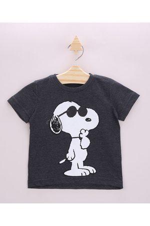 Snoopy Camiseta Infantil Manga Curta Gola Careca Chumbo