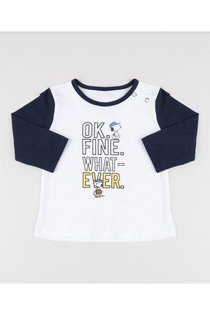 Snoopy Camiseta Infantil Manga Longa Gola Careca Off White