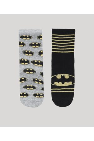 Warner Bros Menino Meias - Kit de 2 Meias Infantis Batman Multicor