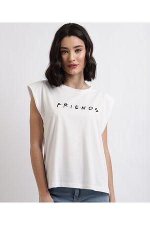 """Warner Bros Blusa Feminina Friends"""" com Ombreiras Decote Redondo Branca"""""""