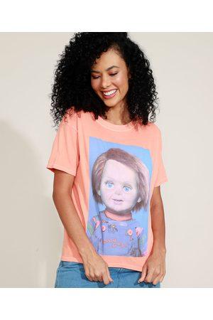 Universal Blusa Feminina Chucky Manga Curta Decote Redondo