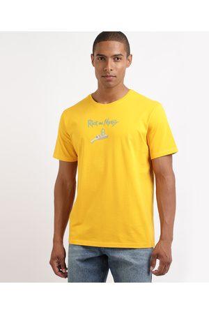 Warner Bros Homem Manga Curta - Camiseta Masculina Rick e Morty Manga Curta Gola Careca Amarela