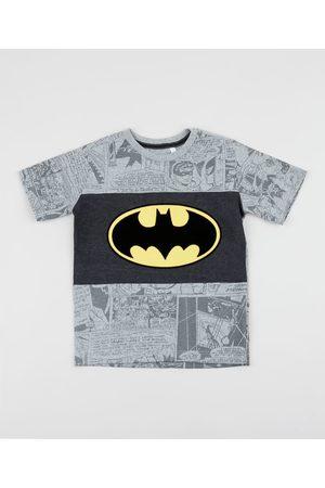 Warner Bros Camiseta Infantil Batman Estampada com Recorte Manga Curta Cinza Mescla Claro