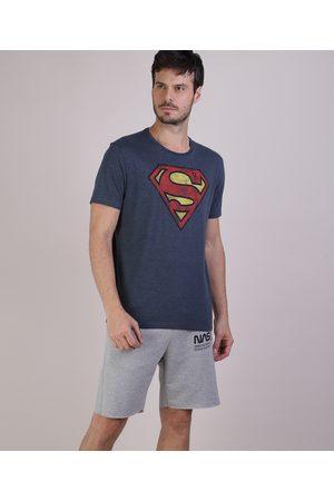 Warner Bros Homem Manga Curta - Camiseta Masculina Super Homem Manga Curta Gola Careca Mescla Escuro