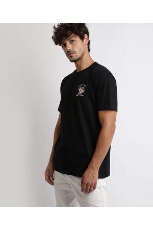 Warner Bros Camiseta Masculina Taz Looney Tunes Manga Curta Gola Careca Preta
