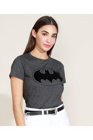 Warner Bros Blusa Feminina Batman Manga Curta Decote Redondo Chumbo