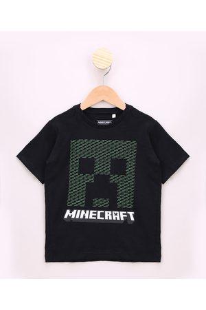Minecraft Menino Manga Curta - Camiseta Infantil com Relevo Manga Curta Preta