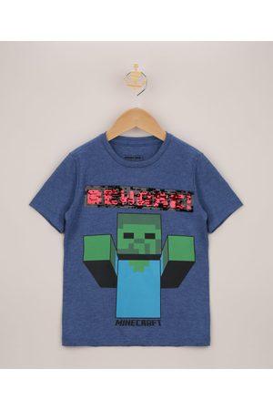 Minecraft Camiseta Infantil Creeper com Paetê Vai e Vem Manga Curta