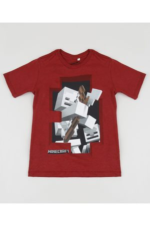 Minecraft Camiseta Infantil Manga Curta Gola Careca Vermelha