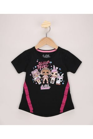 LOL Surprise Blusa Infantil Ampla com Glitter e Paetê Manga Curta Preta