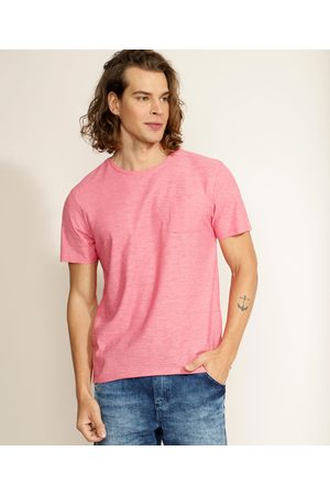 Basics Homem Manga Curta - Camiseta Masculina Básica Flamê com Bolso Manga Curta Gola Careca Coral