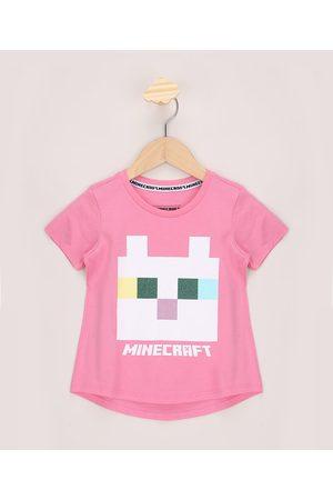 Minecraft Menina Manga Curta - Blusa Infantil Ampla com Glitter Manga Curta