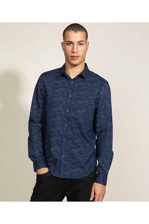 ANGELO LITRICO Homem Camisa Casual - Camisa Masculina Slim Estampada Manga Longa Azul Marinho