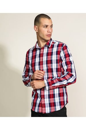 ANGELO LITRICO Camisa Masculina Confort Estampada Xadrez Manga Longa Vermelha