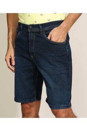 ANGELO LITRICO Homem Bermuda - Bermuda Jeans Masculina Slim com Bolsos Escuro