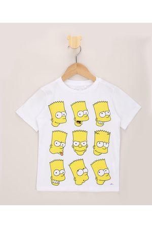 Os Simpsons Camiseta Infantil Rostos Bart Simpson Manga Curta Branca