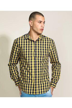 ANGELO LITRICO Homem Camisa Casual - Camisa Masculina Tradicional Estampada Xadrez Manga Longa Amarela