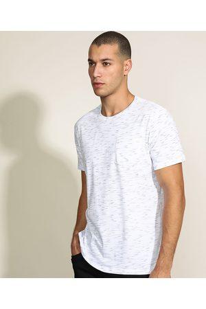 Basics Camiseta Masculina Básica com Bolso Manga Curta Gola Careca Branca