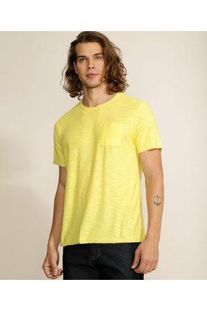 Basics Homem Manga Curta - Camiseta Masculina Básica Flamê com Bolso Manga Curta Gola Careca Claro