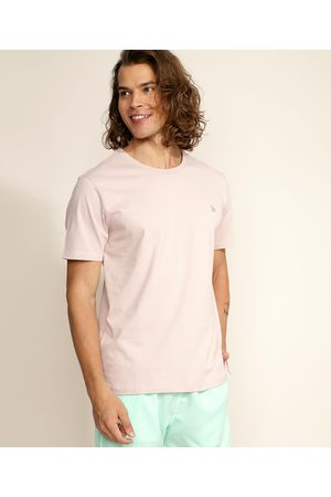Basics Homem Manga Curta - Camiseta Masculina Básica com Bordado Manga Curta Gola Careca Claro