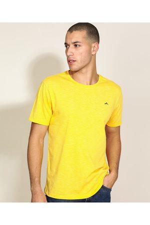 Basics Homem Manga Curta - Camiseta Masculina Básica com Bordado Manga Curta Gola Careca Amarela
