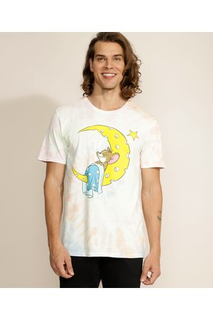 Warner Bros Camiseta Masculina Jerry Estampada Tie Dye Manga Curta Gola Careca Multicor