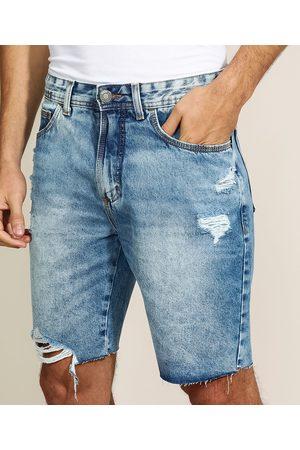 Clockhouse Bermuda Jeans Masculina Slim com Bolsos Destroyed Médio